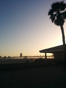 View over the pier in Huntington Beach.